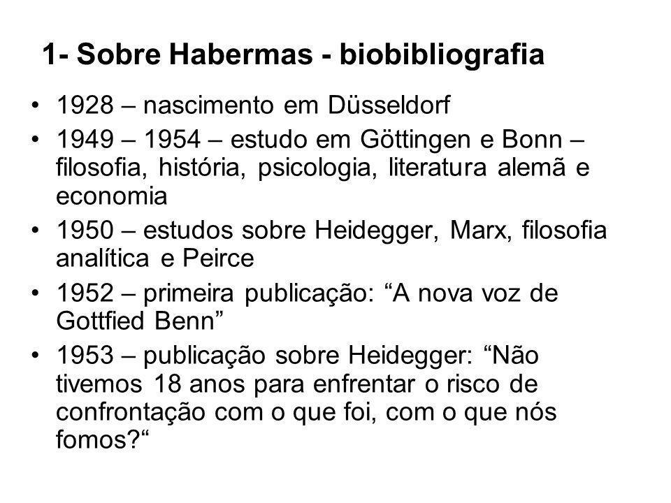 1- Sobre Habermas - biobibliografia 1928 – nascimento em Düsseldorf 1949 – 1954 – estudo em Göttingen e Bonn – filosofia, história, psicologia, litera