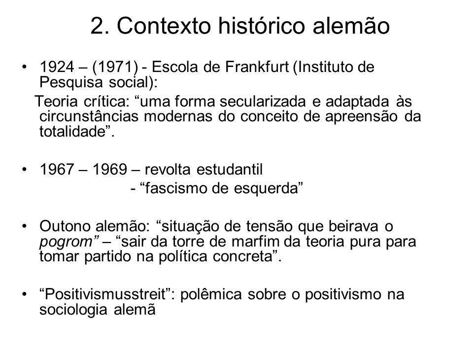 2. Contexto histórico alemão 1924 – (1971) - Escola de Frankfurt (Instituto de Pesquisa social): Teoria crítica: uma forma secularizada e adaptada às
