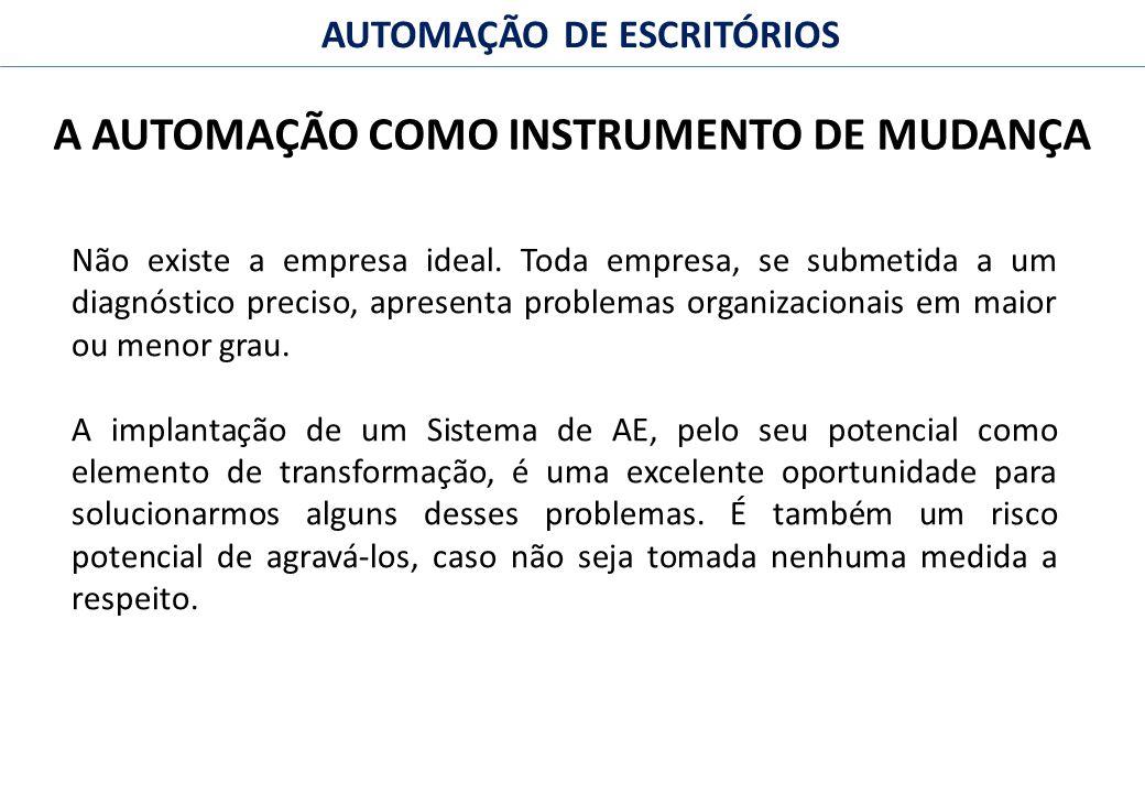 22 FACULDADE FABRAI ANHANGUERA – 2009 AUTOMAÇÃO DE ESCRITÓRIOS A AUTOMAÇÃO COMO INSTRUMENTO DE MUDANÇA Não existe a empresa ideal.