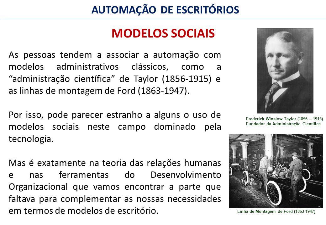 34 FACULDADE FABRAI ANHANGUERA – 2009 AUTOMAÇÃO DE ESCRITÓRIOS MODELOS SOCIAIS As pessoas tendem a associar a automação com modelos administrativos clássicos, como a administração científica de Taylor (1856-1915) e as linhas de montagem de Ford (1863-1947).