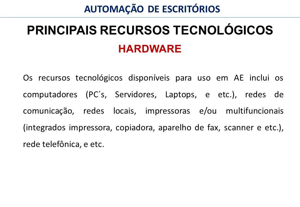 42 FACULDADE FABRAI ANHANGUERA – 2009 AUTOMAÇÃO DE ESCRITÓRIOS PRINCIPAIS RECURSOS TECNOLÓGICOS Os recursos tecnológicos disponíveis para uso em AE inclui os computadores (PC´s, Servidores, Laptops, e etc.), redes de comunicação, redes locais, impressoras e/ou multifuncionais (integrados impressora, copiadora, aparelho de fax, scanner e etc.), rede telefônica, e etc.