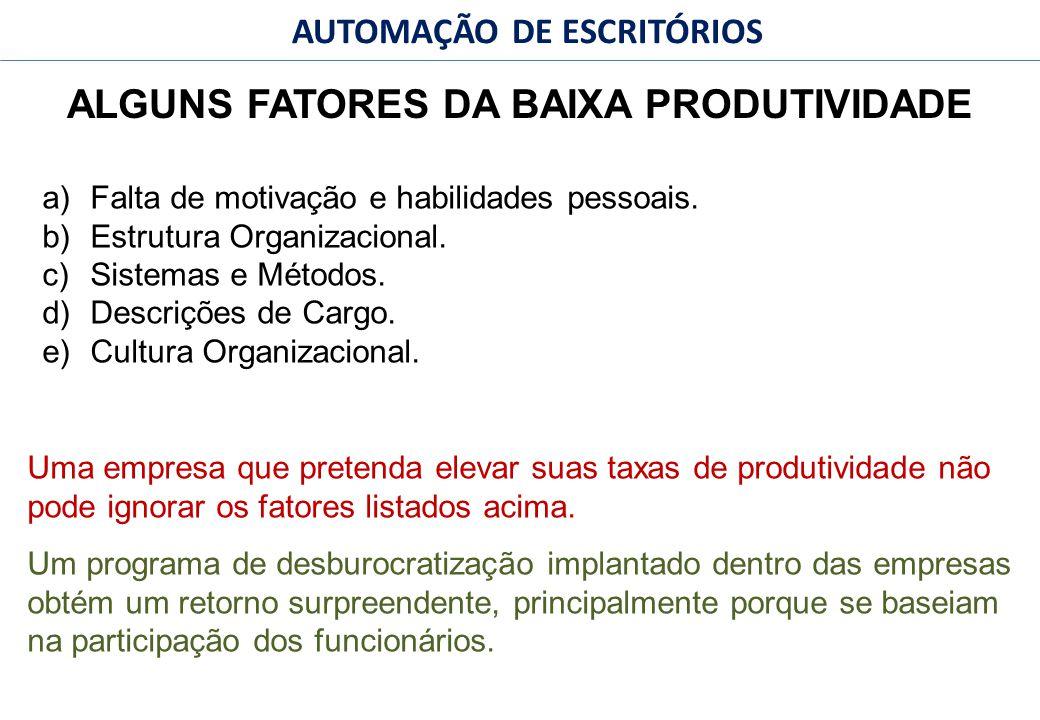 48 FACULDADE FABRAI ANHANGUERA – 2009 AUTOMAÇÃO DE ESCRITÓRIOS ALGUNS FATORES DA BAIXA PRODUTIVIDADE a)Falta de motivação e habilidades pessoais.