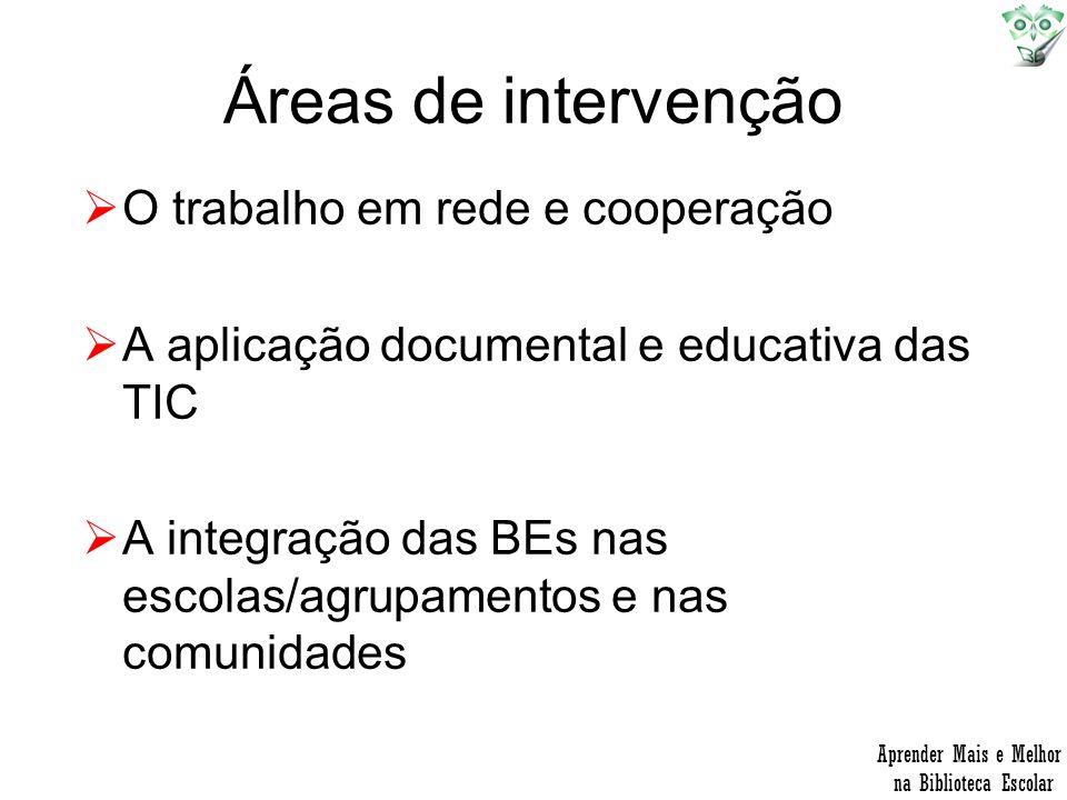 Áreas de intervenção O trabalho em rede e cooperação A aplicação documental e educativa das TIC A integração das BEs nas escolas/agrupamentos e nas co