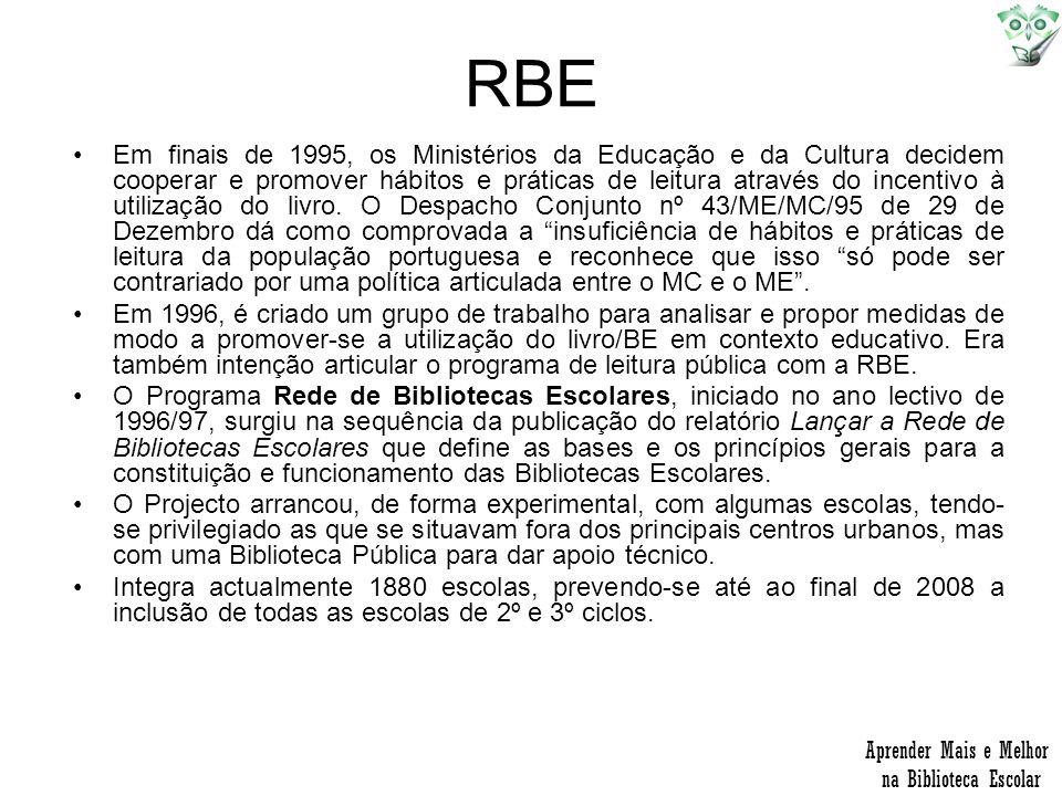 RBE Em finais de 1995, os Ministérios da Educação e da Cultura decidem cooperar e promover hábitos e práticas de leitura através do incentivo à utiliz