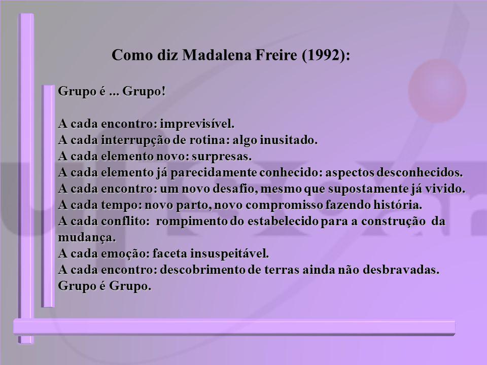 Como diz Madalena Freire (1992): Grupo é... Grupo! A cada : imprevisível. A cada encontro: imprevisível. A cada interrupção de rotina: algo inusitado.