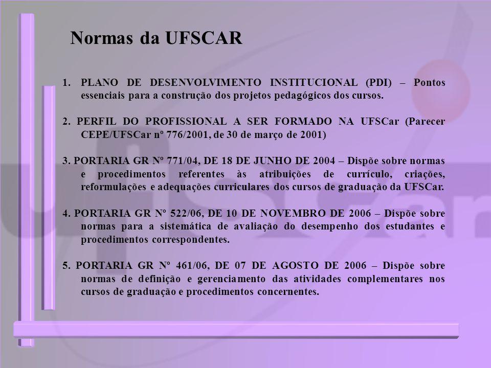 Normas da UFSCAR 1.PLANO DE DESENVOLVIMENTO INSTITUCIONAL (PDI) – Pontos essenciais para a construção dos projetos pedagógicos dos cursos. 2. PERFIL D