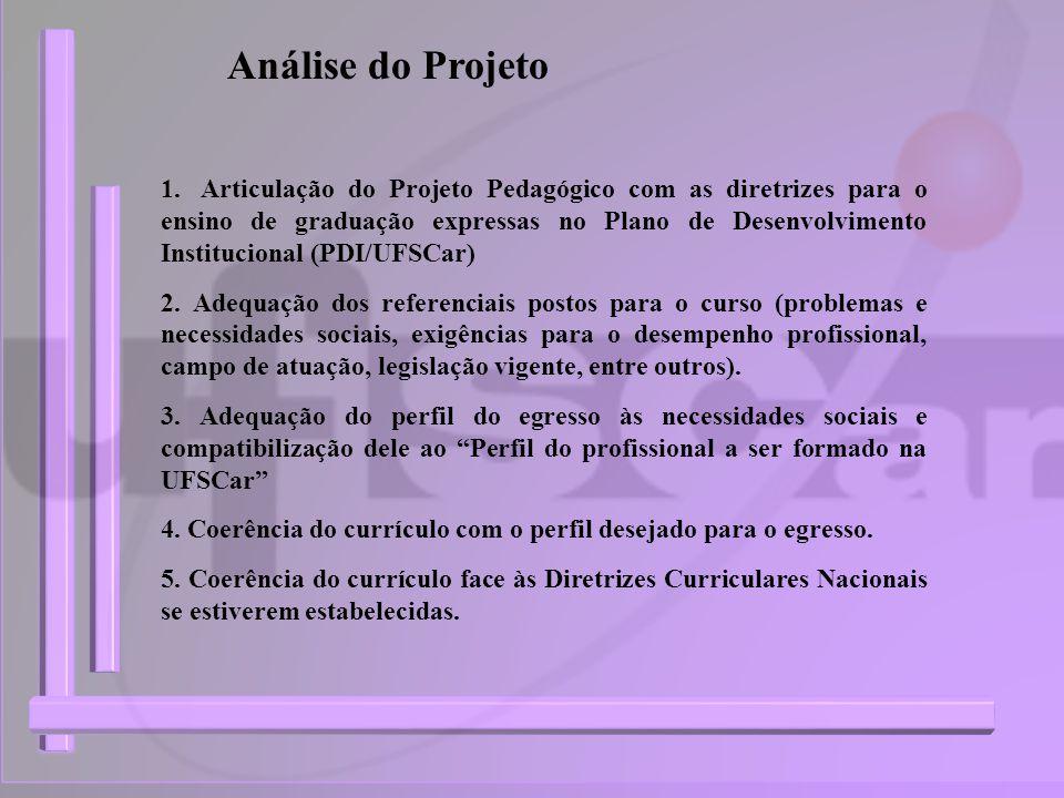 Análise do Projeto 1.Articulação do Projeto Pedagógico com as diretrizes para o ensino de graduação expressas no Plano de Desenvolvimento Instituciona
