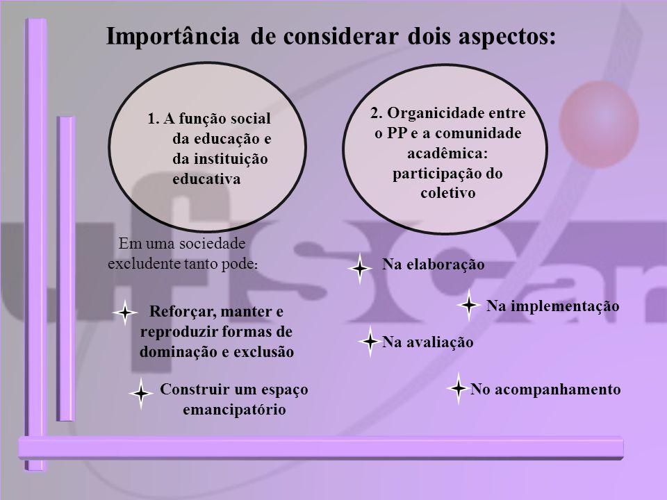 Importância de considerar dois aspectos: 1. A função social da educação e da instituição educativa 2. Organicidade entre o PP e a comunidade acadêmica