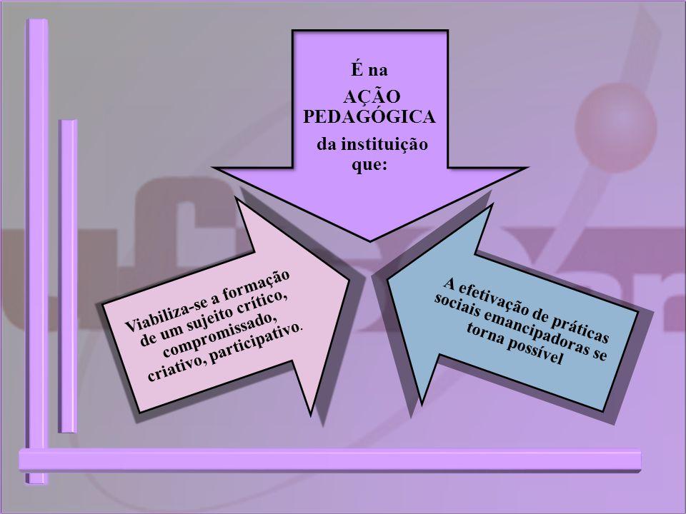 É na AÇÃO PEDAGÓGICA da instituição que: A efetivação de práticas sociais emancipadoras se torna possível Viabiliza-se a formação de um sujeito crític