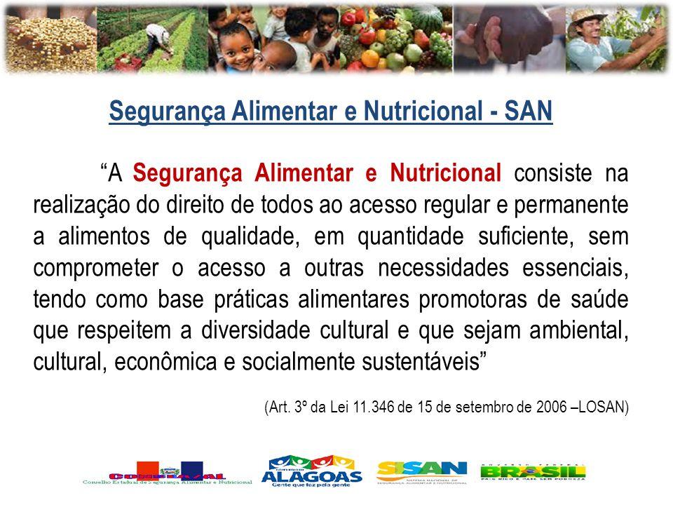 A Segurança Alimentar e Nutricional consiste na realização do direito de todos ao acesso regular e permanente a alimentos de qualidade, em quantidade