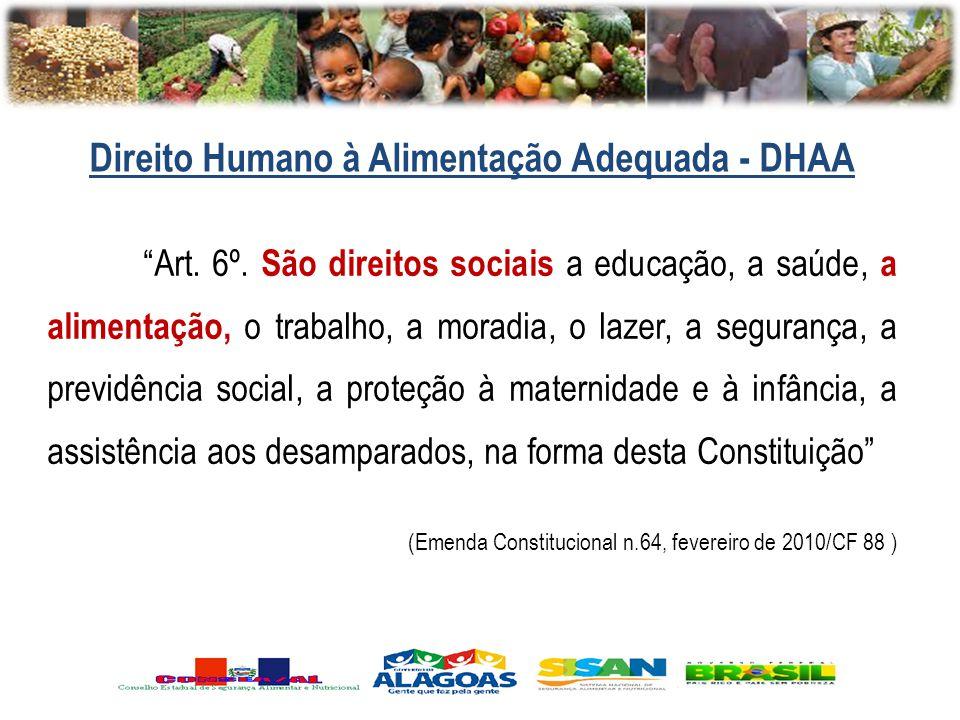 Art. 6º. São direitos sociais a educação, a saúde, a alimentação, o trabalho, a moradia, o lazer, a segurança, a previdência social, a proteção à mate