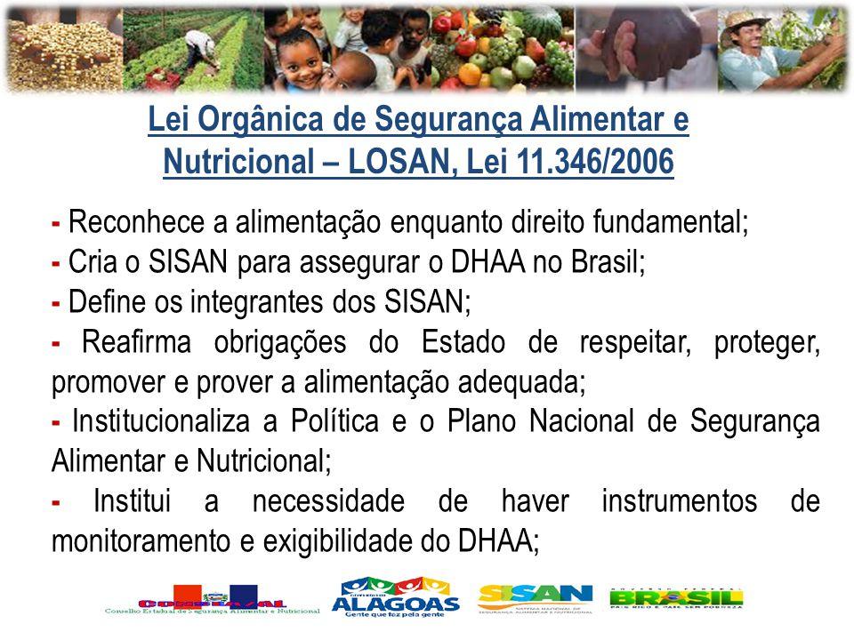 - Reconhece a alimentação enquanto direito fundamental; - Cria o SISAN para assegurar o DHAA no Brasil; - Define os integrantes dos SISAN; - Reafirma