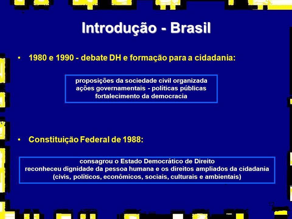 12 1980 e 1990 - debate DH e formação para a cidadania: Constituição Federal de 1988: Introdução - Brasil proposições da sociedade civil organizada aç