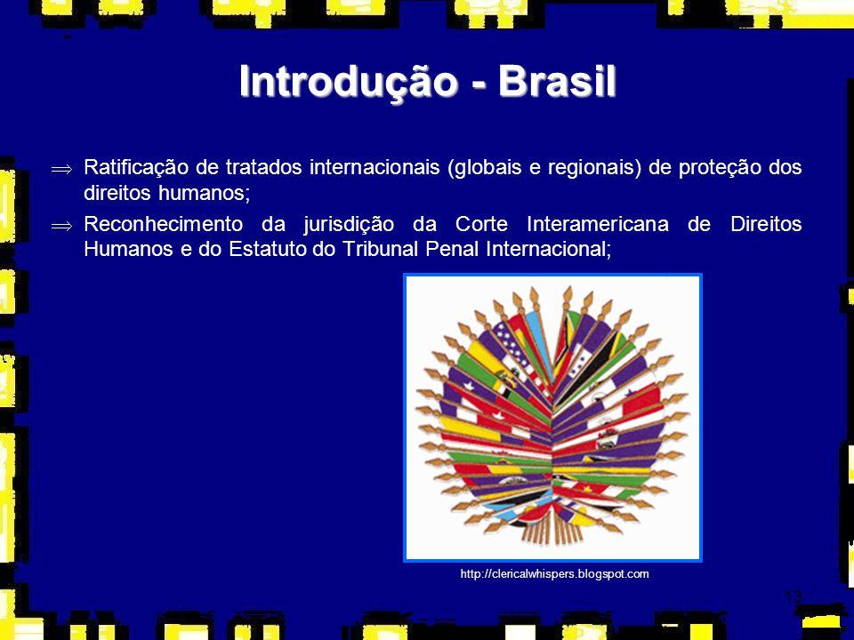 13 ÞRatificação de tratados internacionais (globais e regionais) de proteção dos direitos humanos; ÞReconhecimento da jurisdição da Corte Interamerica