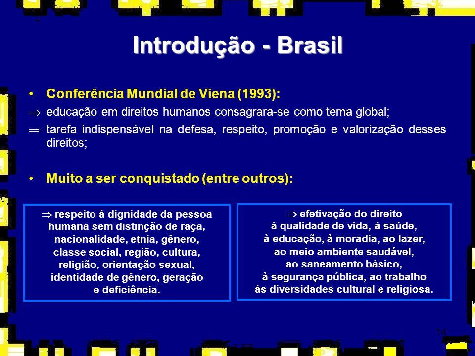 14 Introdução - Brasil Conferência Mundial de Viena (1993): Þeducação em direitos humanos consagrara-se como tema global; Þtarefa indispensável na def