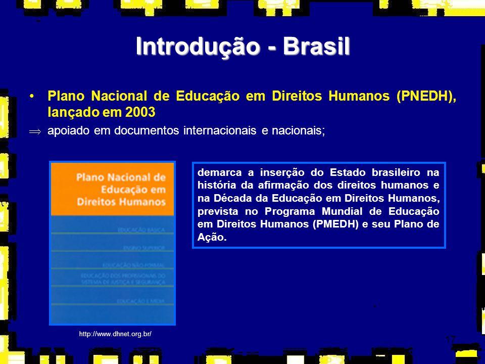 17 Introdução - Brasil Plano Nacional de Educação em Direitos Humanos (PNEDH), lançado em 2003 Þapoiado em documentos internacionais e nacionais; dema