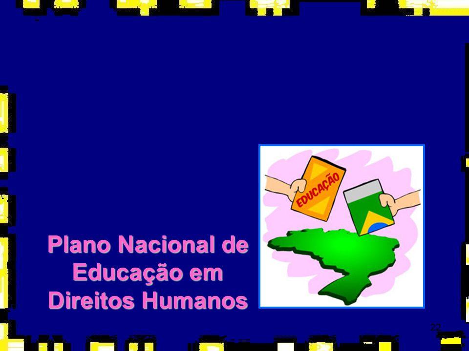 23 Objetivos gerais a)Destacar o papel estratégico da educação em direitos humanos para o fortalecimento do Estado Democrático de Direito; b)Enfatizar o papel dos direitos humanos na construção de uma sociedade justa, eqüitativa e democrática; c)Encorajar o desenvolvimento de ações de educação em direitos humanos pelo poder público e a sociedade civil por meio de ações conjuntas; d)Contribuir para a efetivação dos compromissos internacionais e nacionais com a educação em direitos humanos; e)Estimular a cooperação nacional e internacional na implementação de ações de educação em direitos humanos; f)Propor a transversalidade da educação em direitos humanos nas políticas públicas, estimulando o desenvolvimento institucional e interinstitucional das ações previstas no PNEDH nos mais diversos setores (educação, saúde, comunicação, cultura, segurança e justiça, esporte e lazer, dentre outros);