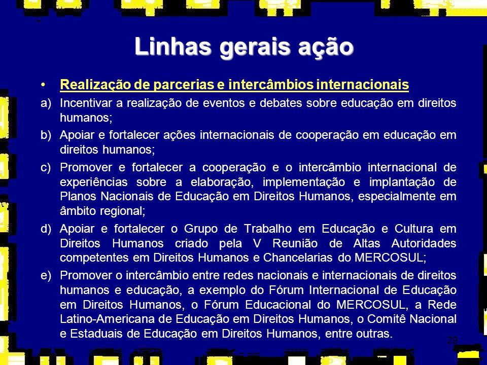 29 Linhas gerais ação Realização de parcerias e intercâmbios internacionais a)Incentivar a realização de eventos e debates sobre educação em direitos