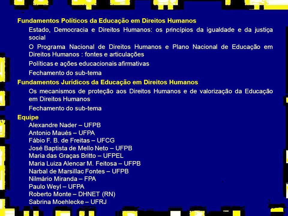 3 Fundamentos Políticos da Educação em Direitos Humanos Estado, Democracia e Direitos Humanos: os princípios da igualdade e da justiça social O Progra