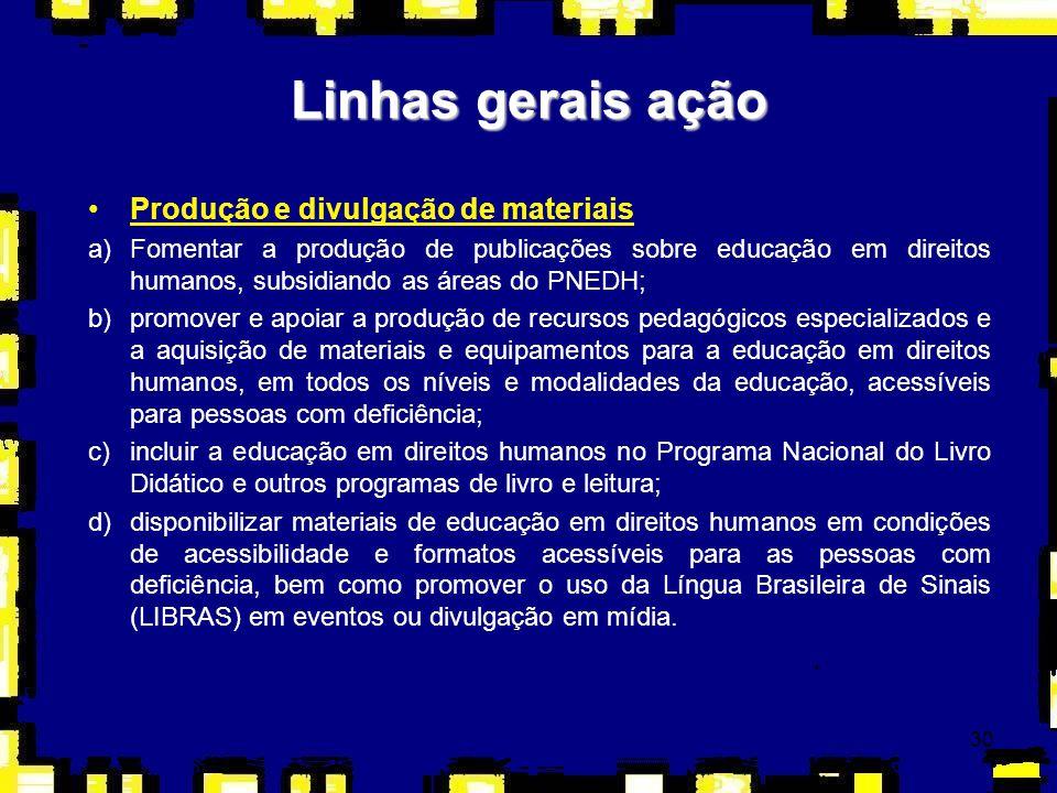 30 Linhas gerais ação Produção e divulgação de materiais a)Fomentar a produção de publicações sobre educação em direitos humanos, subsidiando as áreas