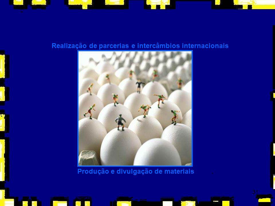 31 Realização de parcerias e intercâmbios internacionais Produção e divulgação de materiais