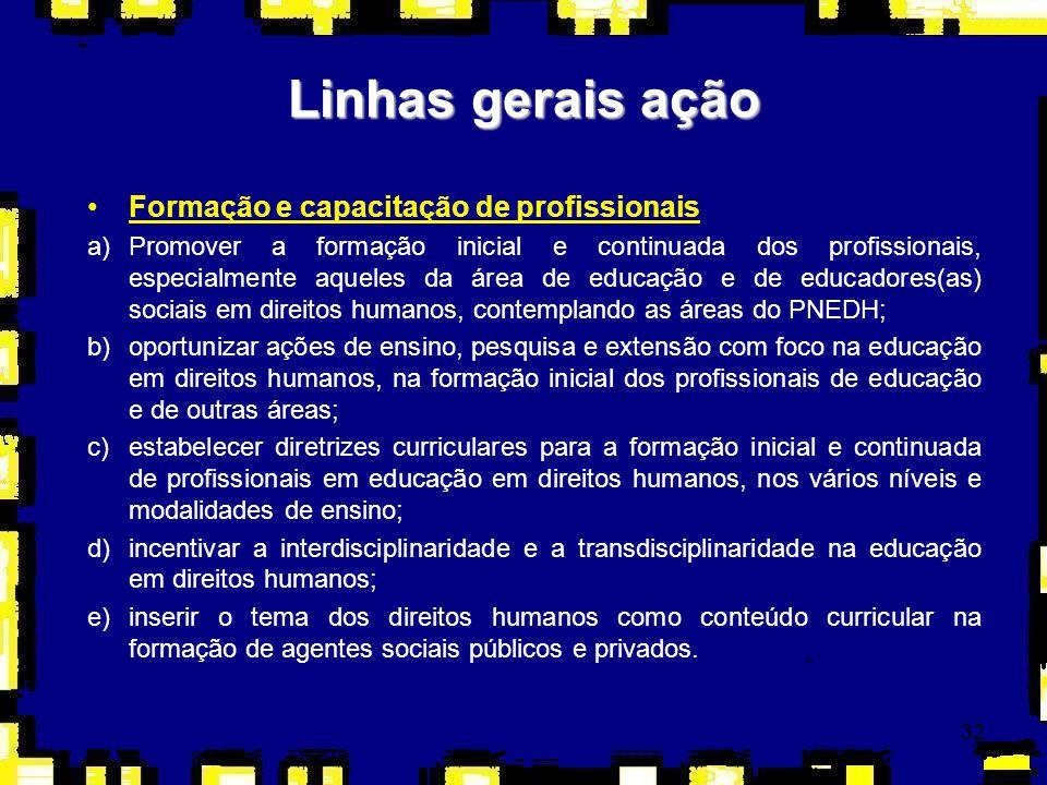 32 Linhas gerais ação Formação e capacitação de profissionais a)Promover a formação inicial e continuada dos profissionais, especialmente aqueles da á