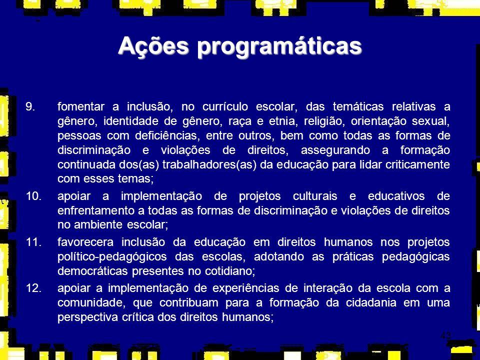 43 Ações programáticas 9.fomentar a inclusão, no currículo escolar, das temáticas relativas a gênero, identidade de gênero, raça e etnia, religião, or