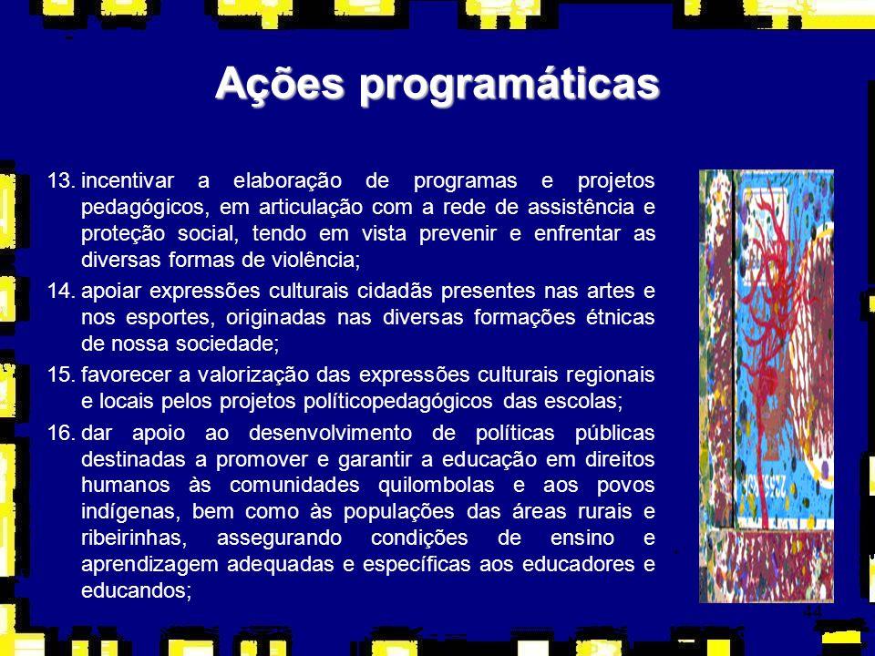 44 Ações programáticas 13.incentivar a elaboração de programas e projetos pedagógicos, em articulação com a rede de assistência e proteção social, ten