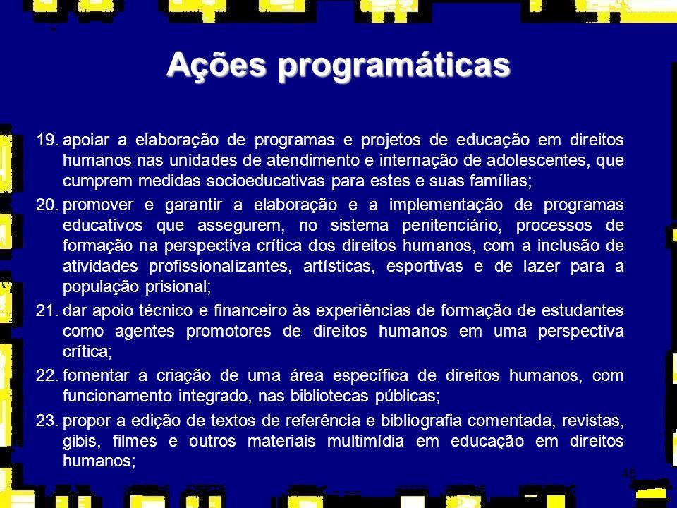 46 Ações programáticas 19.apoiar a elaboração de programas e projetos de educação em direitos humanos nas unidades de atendimento e internação de adol