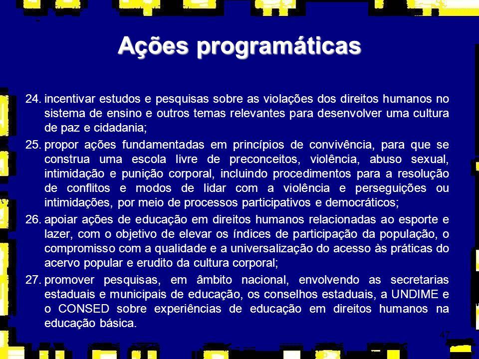47 Ações programáticas 24.incentivar estudos e pesquisas sobre as violações dos direitos humanos no sistema de ensino e outros temas relevantes para d