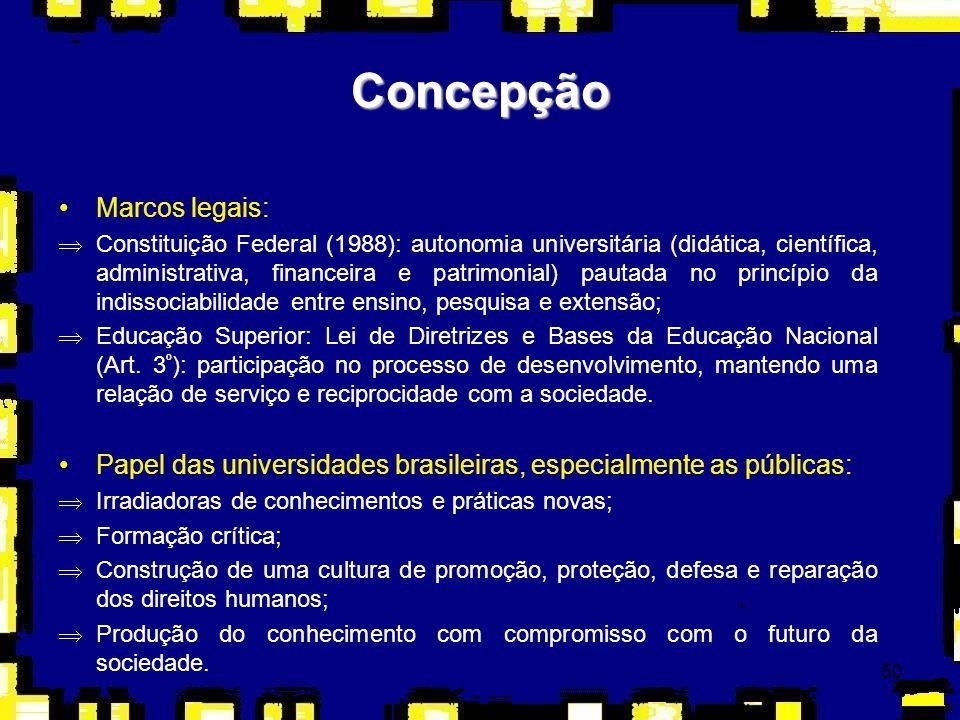 50 Concepção Marcos legais: ÞConstituição Federal (1988): autonomia universitária (didática, científica, administrativa, financeira e patrimonial) pau