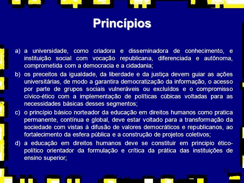53 Princípios e)as atividades acadêmicas devem se voltar para a formação de uma cultura baseada na universalidade, indivisibilidade e interdependência dos direitos humanos, como tema transversal e transdisciplinar, de modo a inspirar a elaboração de programas específicos e metodologias adequadas nos cursos de graduação e pós-graduação, entre outros; f)a construção da indissociabilidade entre ensino, pesquisa e extensão deve ser feita articulando as diferentes áreas do conhecimento, os setores de pesquisa e extensão, os programas de graduação, de pós-graduação e outros; g)o compromisso com a construção de uma cultura de respeito aos direitos humanos na relação com os movimentos e entidades sociais, além de grupos em situação de exclusão ou discriminação; h)a participação das IES na formação de agentes sociais de educação em direitos humanos e na avaliação do processo de implementação do PNEDH.
