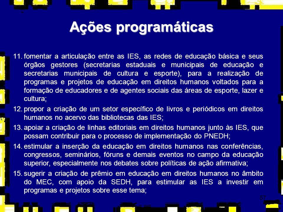 57 Ações programáticas 11.fomentar a articulação entre as IES, as redes de educação básica e seus órgãos gestores (secretarias estaduais e municipais
