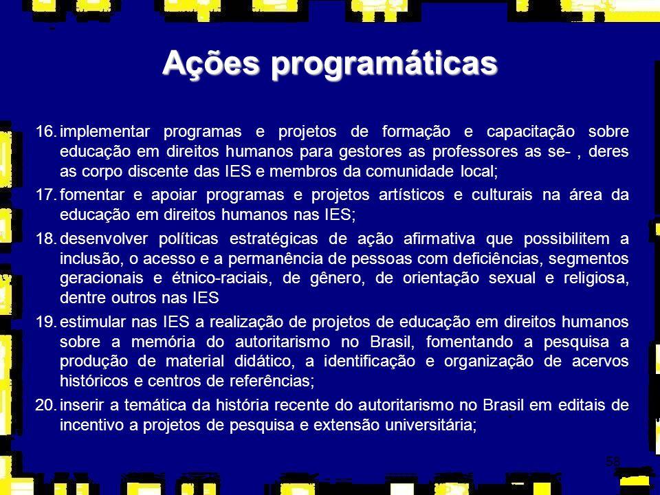 59 Ações programáticas 21.propor a criação de um Fundo Nacional de Ensino, Pesquisa e Extensão para dar suporte aos projetos na área temática da educação em direitos humanos a serem implementados pelas IES.