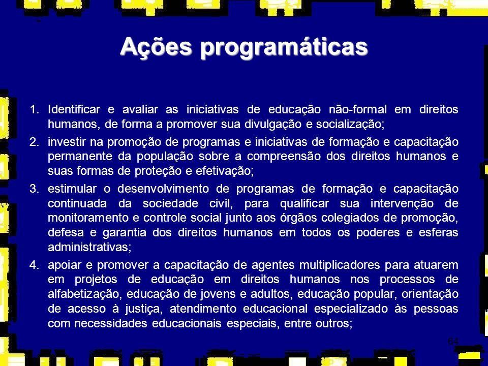 64 1.Identificar e avaliar as iniciativas de educação não-formal em direitos humanos, de forma a promover sua divulgação e socialização; 2.investir na