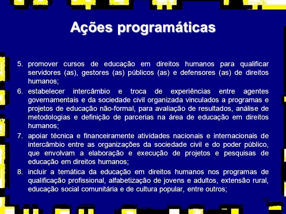 65 5.promover cursos de educação em direitos humanos para qualificar servidores (as), gestores (as) públicos (as) e defensores (as) de direitos humano
