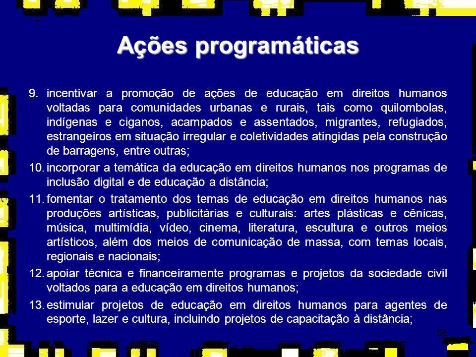67 14.propor a incorporação da temática da educação em direitos humanos nos programas e projetos de esporte, lazer e cultura como instrumentos de inclusão social, especialmente os esportes vinculados à identidade cultural brasileira e incorporados aos princípios e fins da educação nacional.