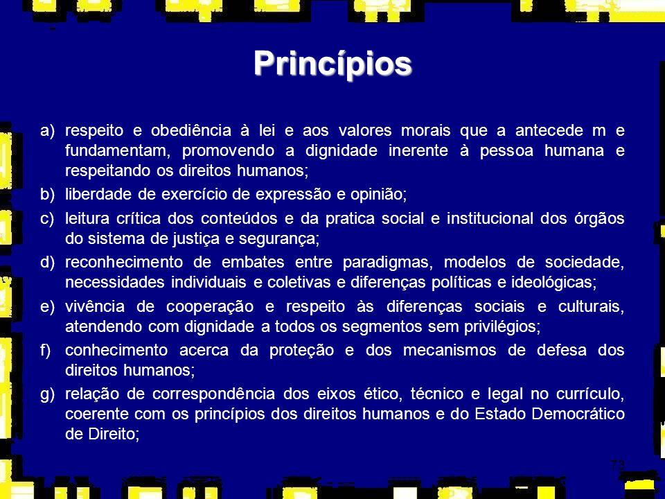 74 h)uso legal, legítimo, proporcional e progressivo da força, protegendo e respeitando todos(as) os(as) cidadãos(ãs); i)respeito no trato com as pessoas, movimentos e entidades sociais, defendendo e promovendo o direito de todos(as); j)consolidação de valores baseados em uma ética solidária e em princípios dos direitos humanos, que contribuam para uma prática emancipatória dos sujeitos que atuam nas áreas de justiça e segurança; k)explicitação das contradições e conflitos existentes nos discursos e práticas das categorias profissionais do sistema de segurança e justiça; l)estímulo à configuração de habilidades e atitudes coerentes com os princípios dos direitos humanos; m)promoção da interdisciplinaridade e transdisciplinaridade nas ações de formação e capacitação dos profissionais da área e de disciplinas específicas de educação em direitos humanos; n)leitura crítica dos modelos de formação e ação policial que utilizam práticas violadoras da dignidade da pessoa humana.