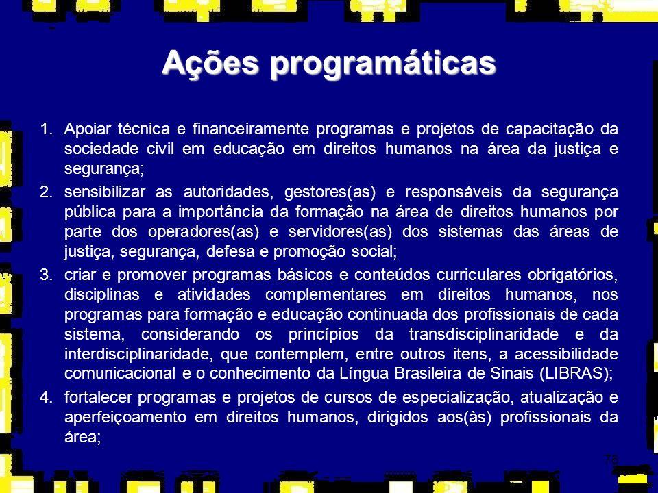 76 1.Apoiar técnica e financeiramente programas e projetos de capacitação da sociedade civil em educação em direitos humanos na área da justiça e segu