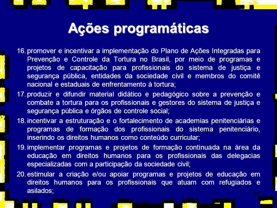 81 16.promover e incentivar a implementação do Plano de Ações Integradas para Prevenção e Controle da Tortura no Brasil, por meio de programas e proje