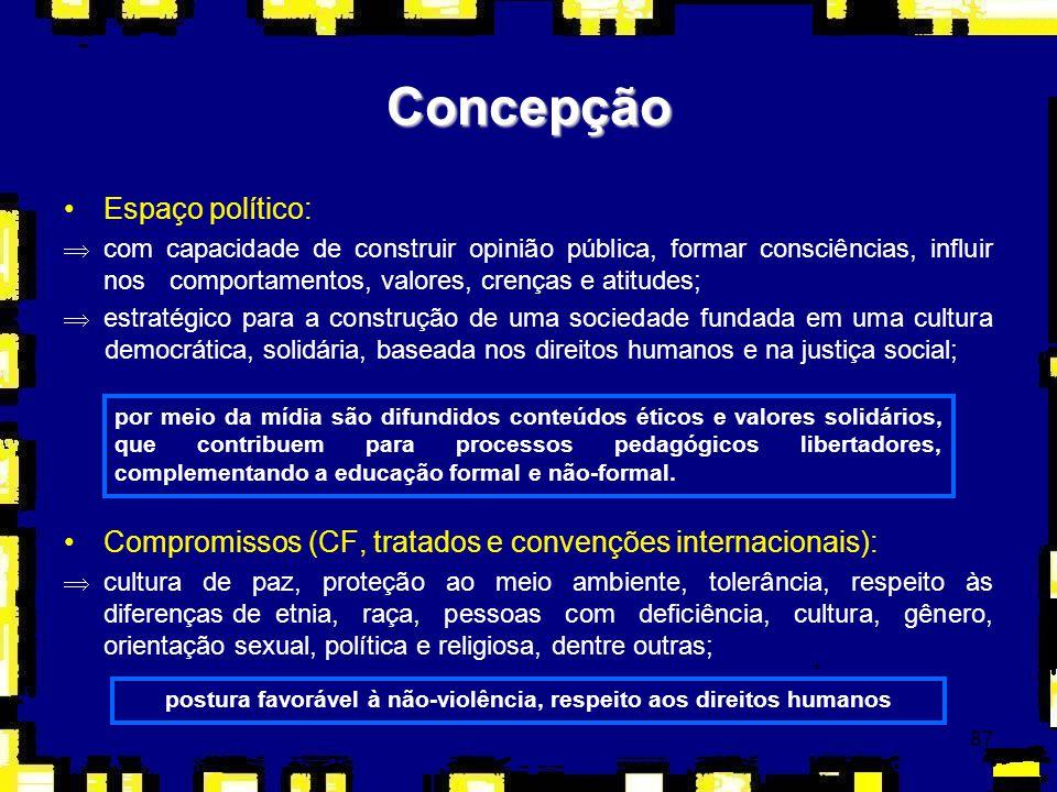 87 Espaço político: Þcom capacidade de construir opinião pública, formar consciências, influir nos comportamentos, valores, crenças e atitudes; Þestra