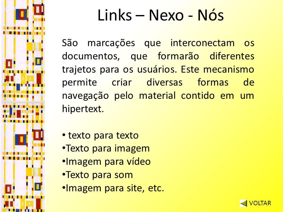 Links – Nexo - Nós VOLTAR São marcações que interconectam os documentos, que formarão diferentes trajetos para os usuários.
