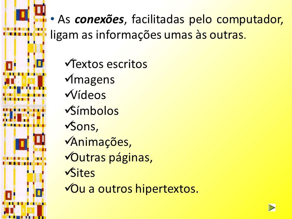 Textos escritos Imagens Vídeos Símbolos Sons, Animações, Outras páginas, Sites Ou a outros hipertextos.