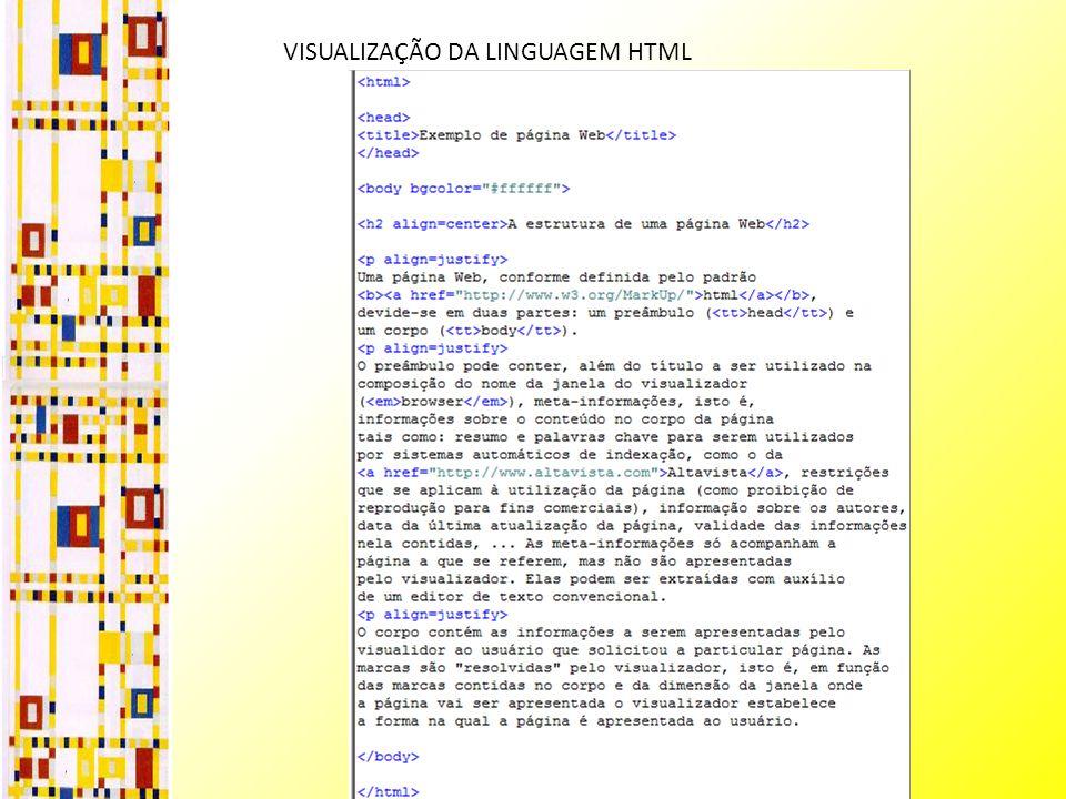 VISUALIZAÇÃO DA LINGUAGEM HTML