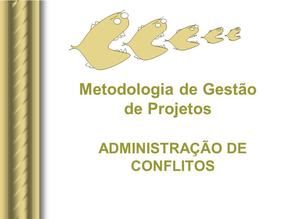 32 / 40 ADMINISTRAÇÃO DE CONFLITOSADMINISTRAÇÃO DE CONFLITOS PERFIL DE SOLUÇÃO DE CONFLITOS % DE GERENTES DE PROJETO CUJO ESTILO REJEITA ESTE MODO DE SOLUÇÃO DE CONFLITO % DE GERENTES DE PROJETO CUJO ESTILO É FAVORÁVEL A ESTE MODO DE SOLUÇÃO DE CONFLITO 70% 60% 50% 40% 30% 20% 10% 0 10% 20% 30% 40% 50% 60% 70% CONFRONTADOR COMPROMISSADOR SUAVE FORÇADOR DESISTENTE