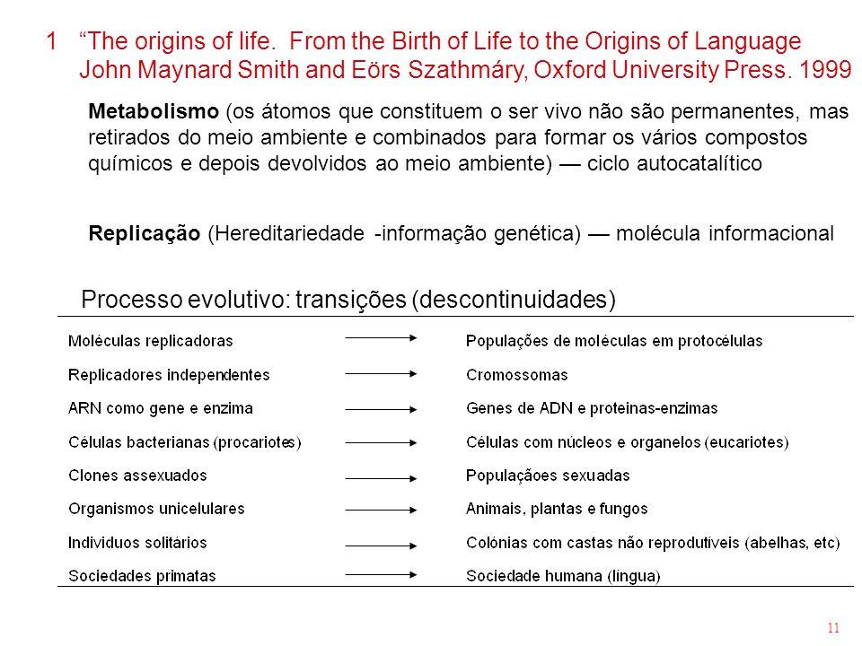 11 Metabolismo (os átomos que constituem o ser vivo não são permanentes, mas retirados do meio ambiente e combinados para formar os vários compostos q