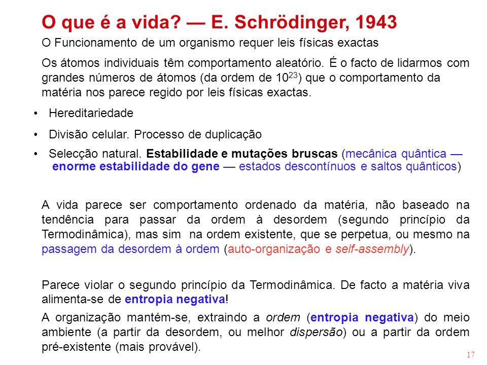 17 O que é a vida? E. Schrödinger, 1943 O Funcionamento de um organismo requer leis físicas exactas Os átomos individuais têm comportamento aleatório.
