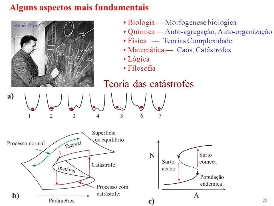 26 Alguns aspectos mais fundamentais Biologia Morfogénese biológica Química Auto-agregação, Auto-organização Física Teorias Complexidade Matemática Ca
