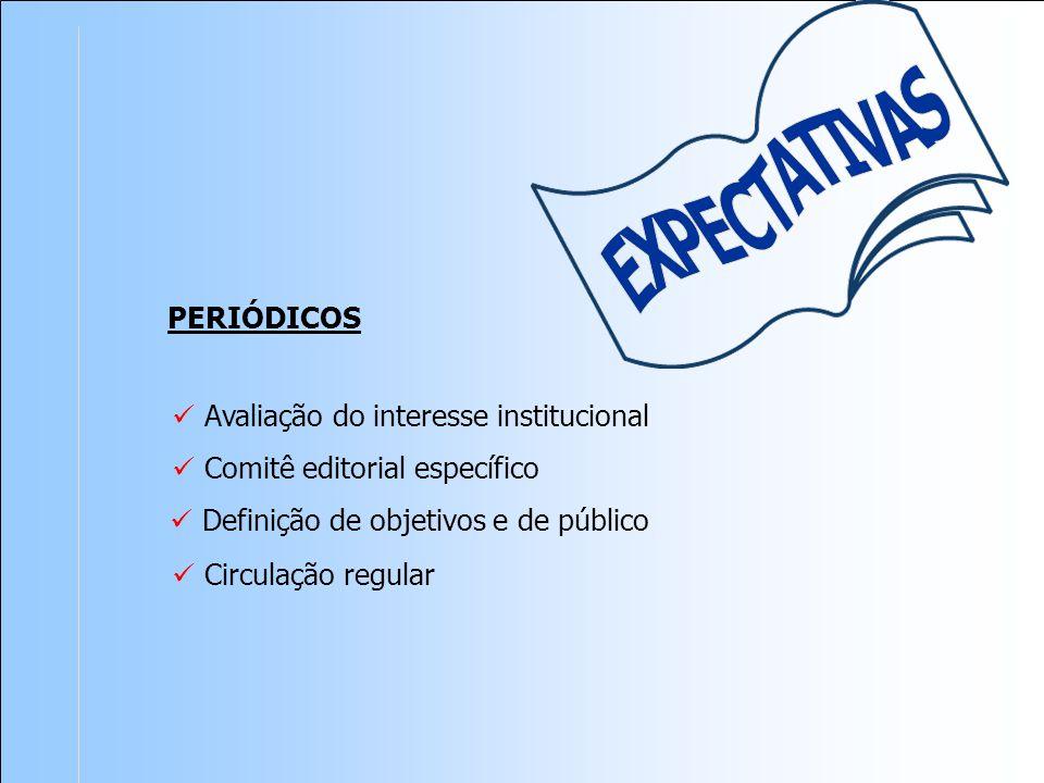 PERIÓDICOS Avaliação do interesse institucional Comitê editorial específico Circulação regular Definição de objetivos e de público
