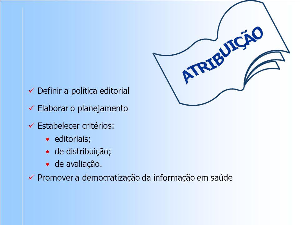 Definir a política editorial Elaborar o planejamento Estabelecer critérios: editoriais; de distribuição; de avaliação.